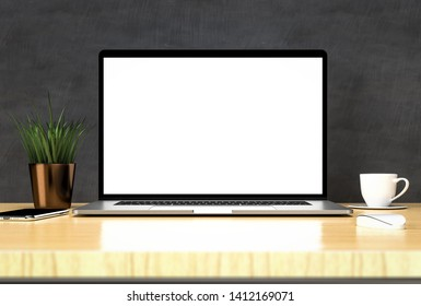 Laptop blank screen on wooden table with grass flower smartphone mouse and coffee - simple mockup, template 3d illustration
