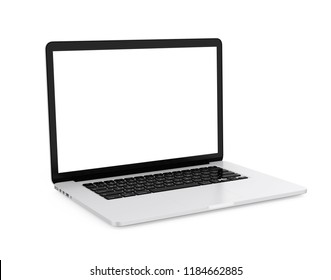Laptop with Blank White Screen Isolated. 3D rendering