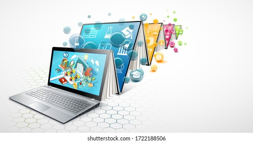 Laptop as a book. The concept of learning. Online education.Illustration