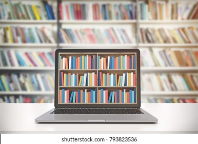 Laptop with bookshelves on its screen is standing on a white desk. A library background. 3d rendering mock up toned image