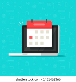 Laptop computer with calendar date or deadline event icon isolated flat cartoon image