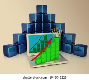 A laptop and cubic diagramatics structure. Concept of online business prosperity on toned background. 3d render