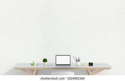 Laptop display for mockup on table in white room and blank space fot text, 3D rendering