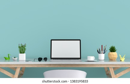 Laptop display for mockup on table, 3D rendering