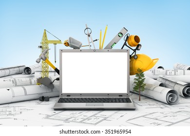 The laptop with empty screen and object for construction. Blueprints and safety helmet over a table in construction site.
