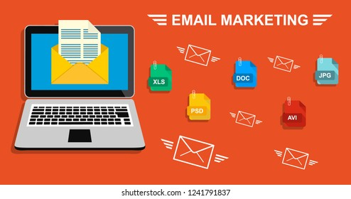 Laptop with envelope and document on screen. E-mail, email marketing, internet advertising concepts