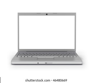 Laptop Front Facing (Clipping Path Screen & Outline)  Isolated on White Background