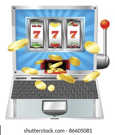 Laptop fruit machine online gambling win concept