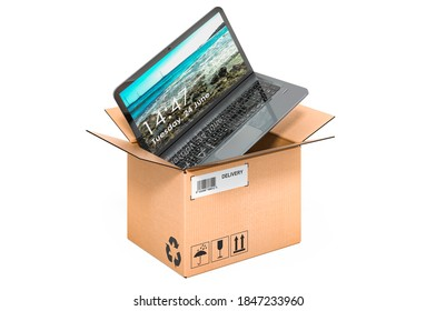 Laptop inside cardboard box, delivery concept. 3D rendering isolated on white background