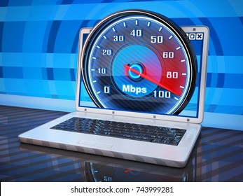 Laptop and internet speed. 3d illustration