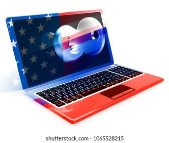 Laptop And Key Showing Hacking 3d Illustration. Cyber Crime  Criminal Campaign by Russian Government To Hack Elections In The USA Using Illegal Online Spying.