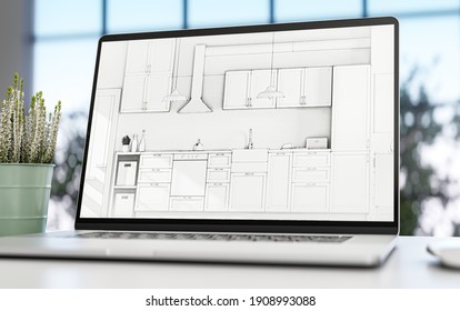 Laptop with kitchen project displayed - 3d illustration