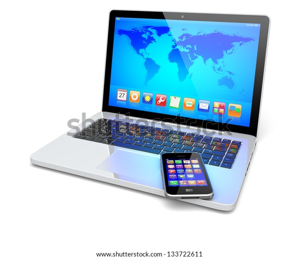 Laptop, and mobile smart phone with colorful apps and Earth world map on a screen. Isolated on a white. Technology 3d concept