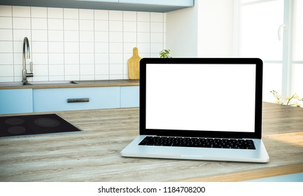 laptop mockup at the kitchen 3d rendering