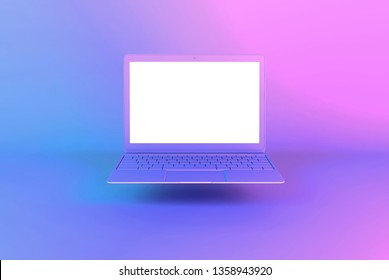 Laptop or notebook computer with white screen illuminated by bright gradient holographic lights of pink blue violet colors. Creative minimal office background. Pop art, conceptual art, 3D illustration