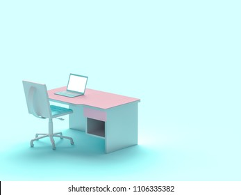 Laptop on table and chair pastel blue color  with copy space for your text. Minimal concept 3d render.