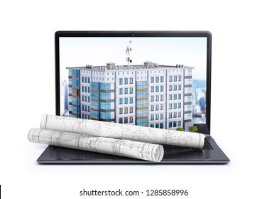 laptop, on which is located a multi-storey building and rolls with drawings. 3d illustration