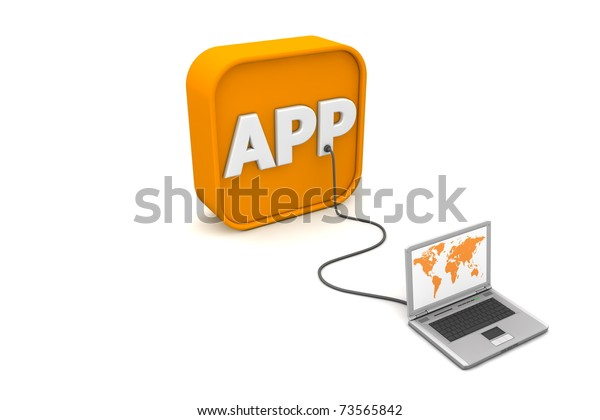 laptop with orange world map is connected with a grey cable to an orange 3D symbol with the white word APP on it - angled
