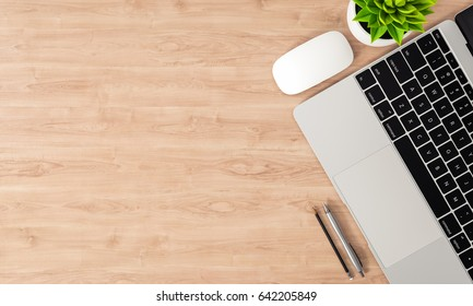 Laptop and other devices on wood office desk, top view, copy space, 3D rendering
