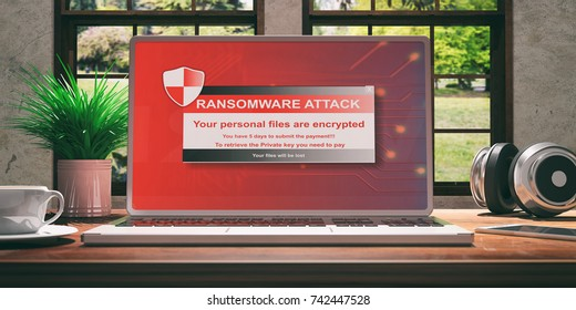 Laptop with ransomware screen and silver color placed on a wooden desk, Room with a window overlooking the beautiful blurred nature. 3d illustration