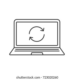 Laptop restart linear icon. Thin line illustration. Notebook with cycling arrow. Reboot contour symbol. Raster isolated outline drawing