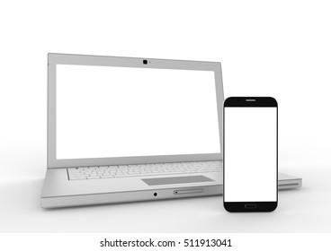 Laptop smartphone mockup on white background. 3d illustration.