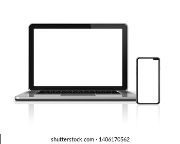 Laptop and smartphone set mockup isolated on white background with blank screens. 3D render