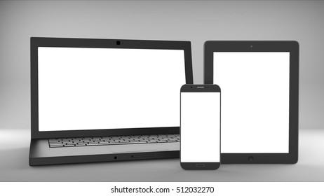 Laptop, smartphone, tablet mockup on gray background. 3d illustration.