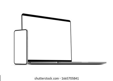 Laptop and smartphone. Template, mockup, design. 3d illustration.
