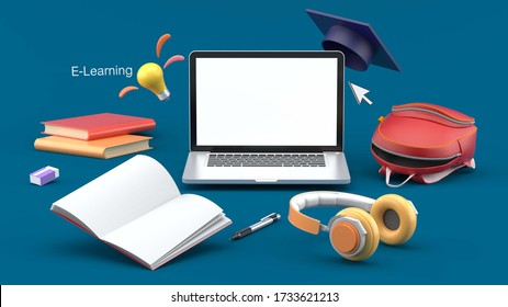The laptop is surrounded by school supplies on a blue background.-3d rendering.