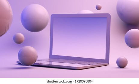 Laptop surrounded by spheres 3d rendering mock up