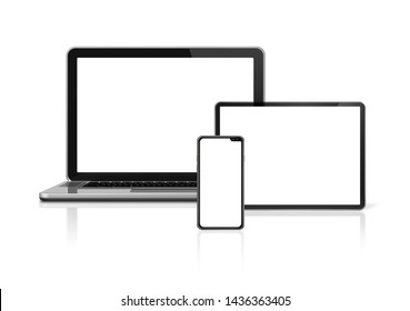 Laptop, tablet and phone set mockup isolated on white background with blank screens. 3D render