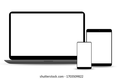 Laptop, tablet and phone set mockup isolated on white background, 3d rendering
