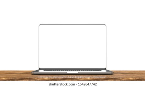 Laptop template isolated on white background. Mockup. 3d illustration.