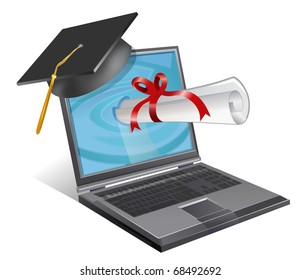 A laptop wearing a graduation cap with a scroll emerging from the screen