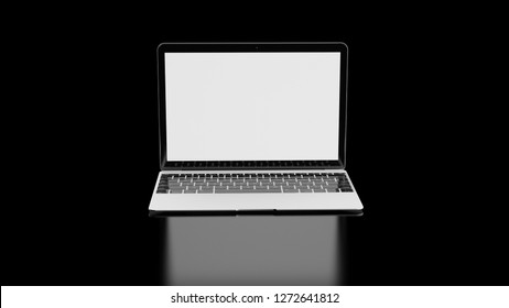 Laptop with white screen reflecting on table with a black background 3D illustration