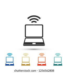 Laptop and wireless icon isolated on white background. Wireless technology, Wi-Fi connection, wireless network, hotspot concepts. Set elements in colored icons. Flat design