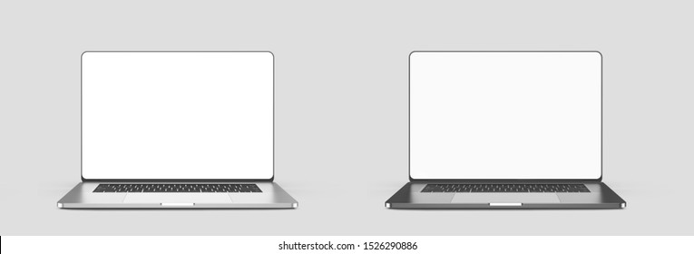 Laptops template isolated on white background. Mockup. 3d illustration.