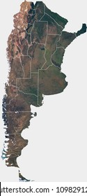 Large (74 MP) satellite image of Argentina with internal (provinces) borders. Country photo from space. Isolated imagery of Argentina. Elements of this image furnished by NASA.