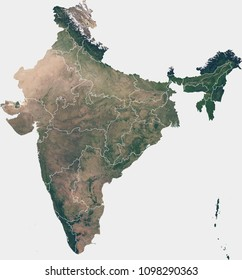 Large (90 MP) satellite image of India with internal (states) borders. Country photo from space. Isolated imagery of India. Elements of this image furnished by NASA.