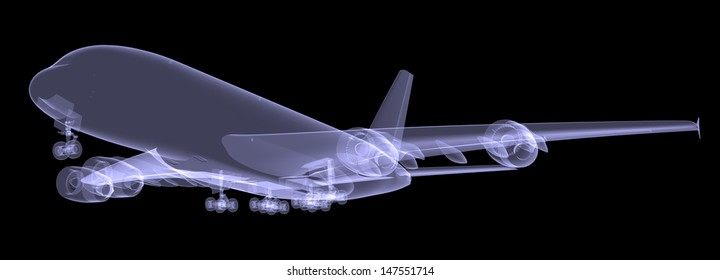 Large aircraft. Isolated render of an X-ray