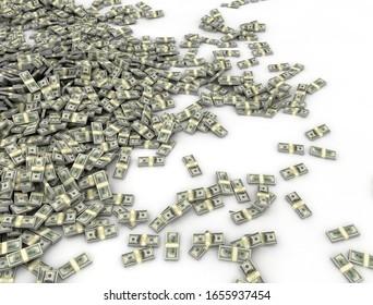 Large amount of money US dollars scattered on white floor. 3d render