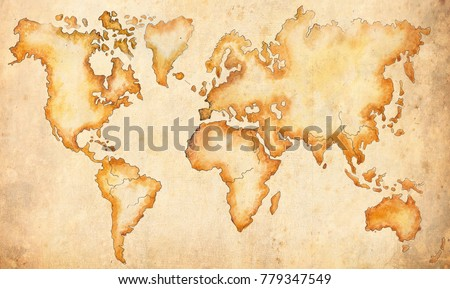 Large Ancient Map World Drawn By Stock Illustration 779347549
