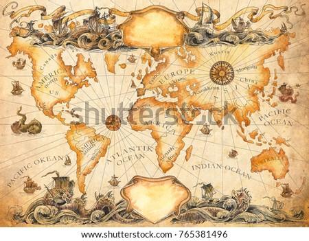 Large Ancient Map World Vignettes Compasses Stock Illustration