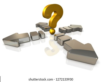 A large arrow extending in the front and back and left and right. A big question mark is a symbol representing unpredictable confusion. White background. 3D illustration