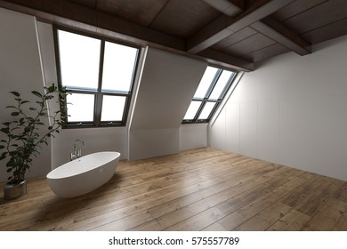 Large attic bathroom with minimalist decor and lone tub beside tall house plant. 3d Rendering.