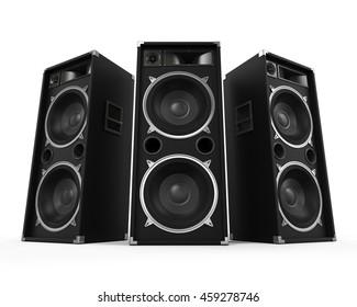 Large Audio Speakers. 3D rendering