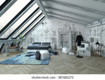 Large bedroom with tall vertical slanted windows, vaulted ceiling and large frame for paintings on wall over wooden floor in herringbone pattern. 3d Rendering.
