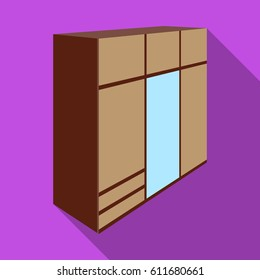 A large bedroom wardrobe with mirrow and lots of drawers and cells.Bedroom furniture single icon in flat style bitmap symbol stock illustration.