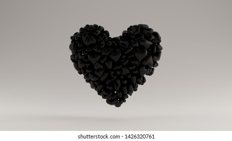 Large Black 3d Heart Icon Made out of lots of Smaller Hearts 3d illustration 3d render